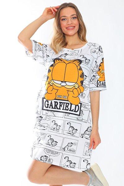 Garfield Baskılı Kısa Kollu Pamuklu Likralı Rahat Kesim Elbise