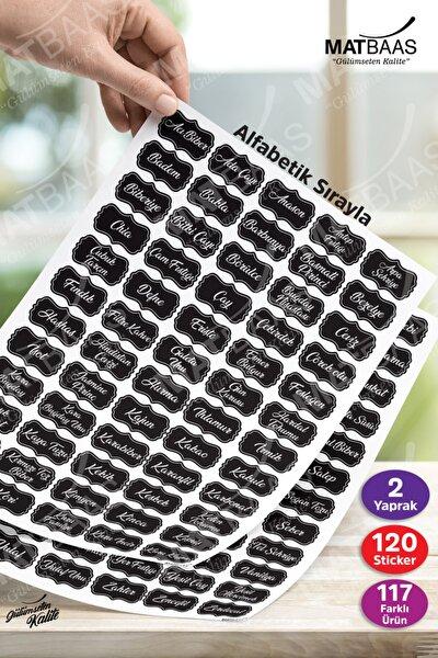 Siyah 120 Adet Baharat Bakliyat Kuruyemiş Kavanoz Etiketi Sticker