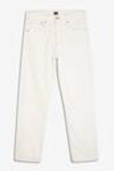 Kadın Beyaz Yüksek Belli Straight-fit Jean Pantolon