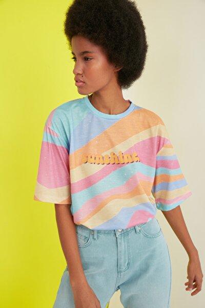 Çok Renkli Loose Örme T-Shirt TWOSS21TS0910