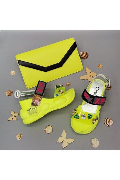 Kadın Neon Sarı Platform Topuklu Anatomik Taban Taşlı Ayakkabı ve Çanta Kombin