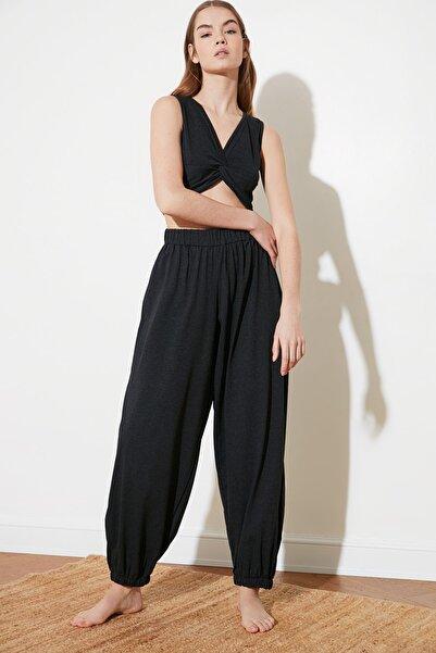 Antrasit Beli Lastikli Şalvar Görünümlü Örme Harem Pantolon TWOSS21PL0303