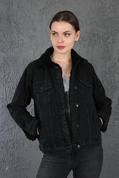 Kadın Antrasit Yakası ve İçi Kürklü Cepli Düğmeli Kot Ceket
