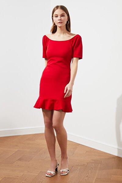Kırmızı Volanlı Elbise TWOSS20EL0399