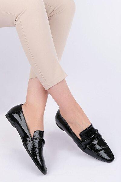 Kadın Siyah Rugan Loafer Ayakkabı Rezva