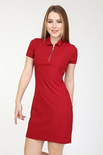Kadın Mını Boy Gömlek Yaka Düz Renk Elbise