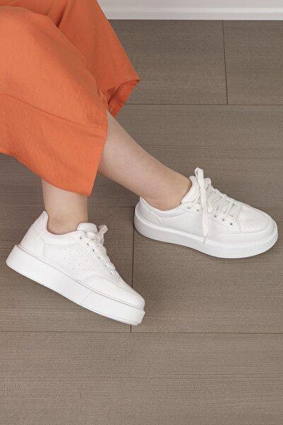 Kadın Beyaz Kalın Taban Sneaker Ayakkabı Azin