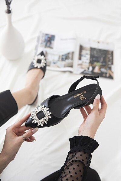 Kadın Topuklu Taş Detay Deri Sandalet