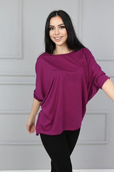 Kadın Mor Yarasa Kol T-Shirt