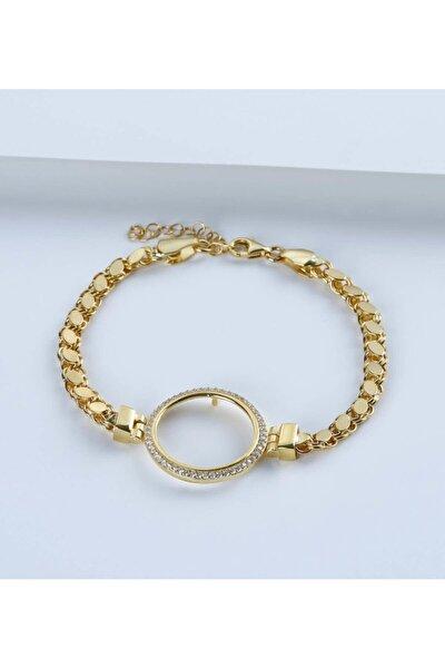 Çeyrek Altın Için Pullu Zincir Gümüş Bileklik 925 Ayar
