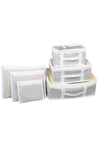 Bavul Içi Düzenleyici Valiz Organizer 6 Lı Set - Çizgili