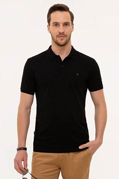 Erkek Siyah Slim Fit Polo Yaka T-Shirt