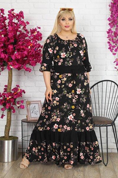 Kadın Siyah Büyük Beden Degaje Bağcık Yaka Eteği Fırfırlı Esnek Viskon Elbise