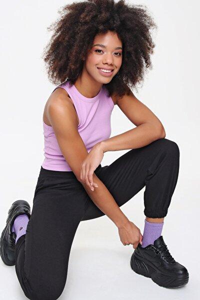 Kadın Siyah Paça Lastikli Jogger Eşofman Altı