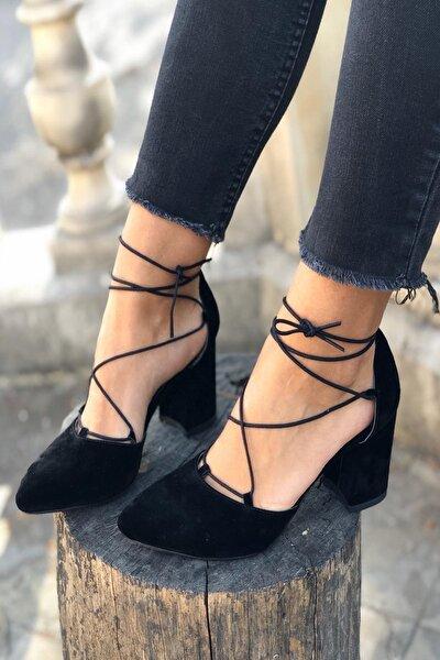 Kadın Siyah Ipli Topuklu Ayakkabı