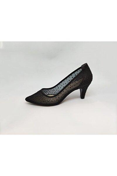 Kadın Siyah Transparan Kısa Topuklu Taşlı Sindirella Ayakkabı
