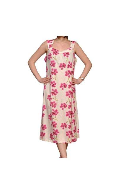 Kadın Pembe Çiçek Desenli Elbise