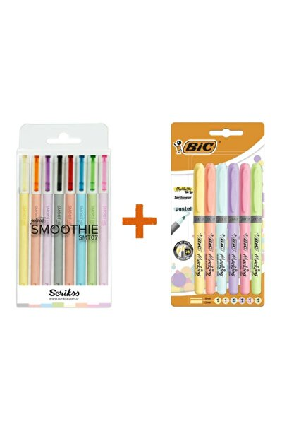 Smoothie 8 Li Jel Kalem + Bic 6 Lı Pastel Fosforlu Kalem