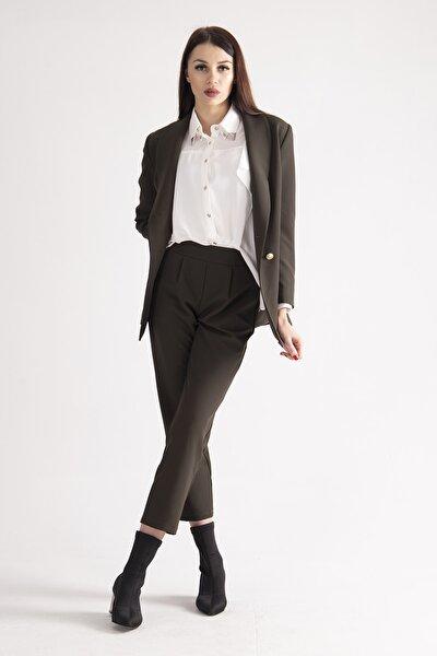Kadın Haki Astarlı Blazer Ceket Pantolon Ikili Takım 0106305