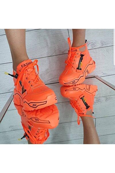 Turuncu Neon Gizli Topuklu Spor Ayakkabı