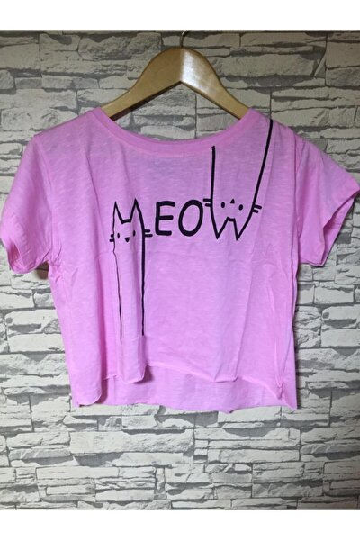 Kadın Pembe Geniş Yaka Crop Örme T-shirt