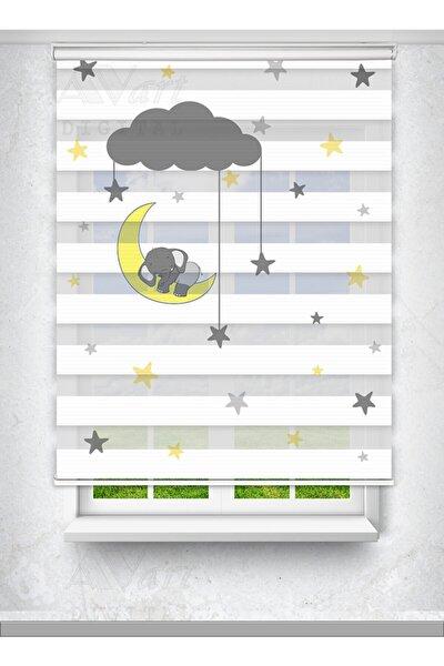 Ay Dede Ve Uyuyan Yavru Fil Baskılı Zebra Perde - Çocuk Odası Perdesi - Baskılı Zebra Perde