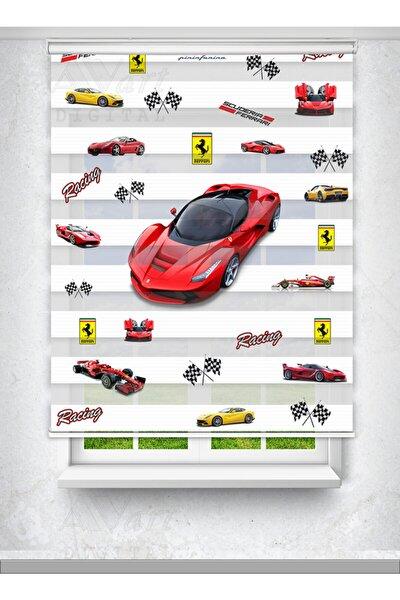 Ferrari Arabalı - Çocuk Odası Perdesi - Baskılı Zebra Perde
