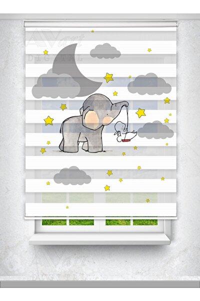 Sevimli Fil Ve Tavşan Baskılı Perde - Çocuk Odası Perdesi - Baskılı Zebra Perde