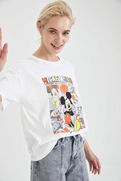 Kadın Beyaz Mickey Mouse Lisanslı Relax Fit Kısa Kollu Tişört