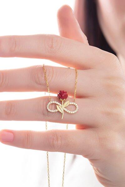 Kadın Tamamı Saf 925 Ayar Gümüş Altın Kaplama Zirkon Taşlı Sonsuzluk Kırmızı Gül Model Kolye