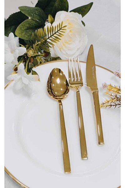 36 Parça Gold Titanyum Çatal Kaşık Seti