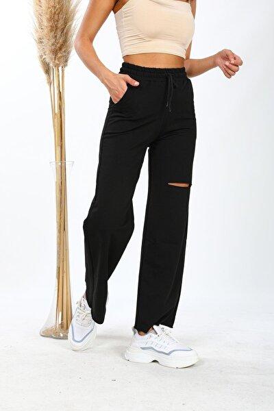 Kadın Siyah Lazer Kesim Yırtık Detaylı Örme Bol Paça Eşofman Altı