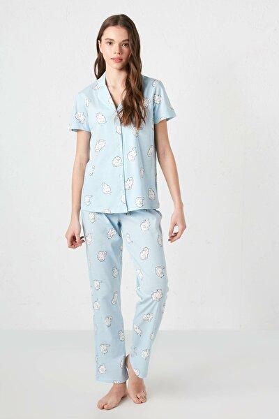 Kadın Açık Mavi Baskılı Pijama Takım