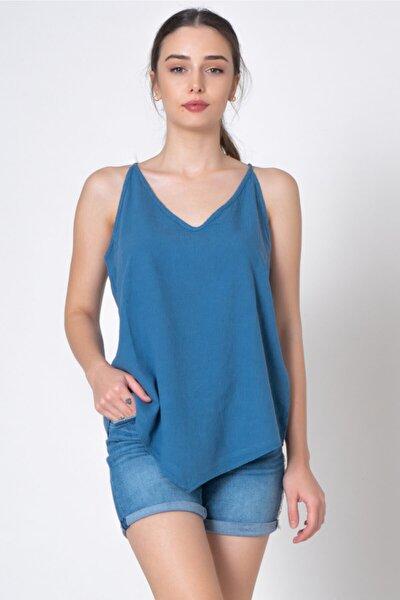 Kadın Mavi Ip Askılı V Yaka Bluz