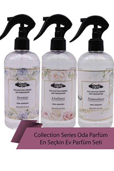 Collection 3 'lü Oda Sprey Seti Air Freshener Liveliness + Naturalness + Serenity 400 Ml Oda Parfümü