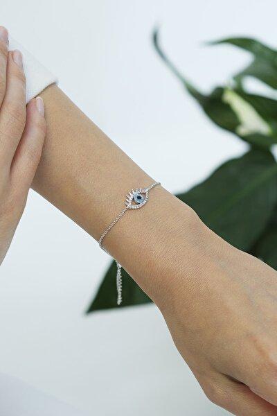 Kadın Zirkon Taşlı Nazarlıklı Göz Figürlü Gümüş Renkli Bileklikgümüş