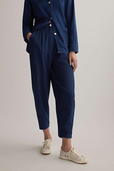 Kadın Mavi %100 Pamuklu Denim Slouchy Pantolon 30307193
