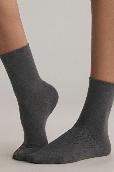 Kadın Gri Düz Pamuklu Çorap 32826491