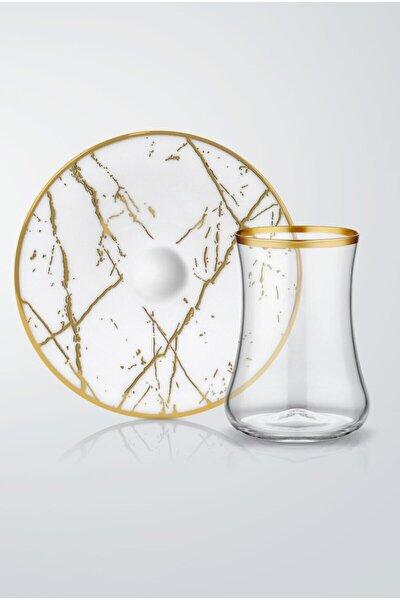 Koleksiyon Dervish Mermer Beyaz Parlak Altın  6'lı Çay Seti