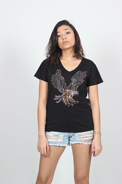 Kadın Siyah V Yaka Kartal Baskılı Taş İşlemeli T-shirt