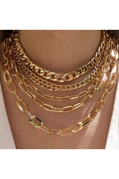 Kadın 6'lı Seri Gold Zincir Kombin Kolye Seti