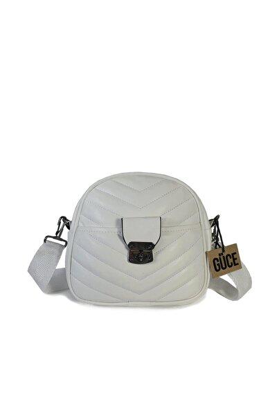 Beyaz V Nakışlı Ayarlanabilir Kemer Askılı Omuz Çantası Gc013001