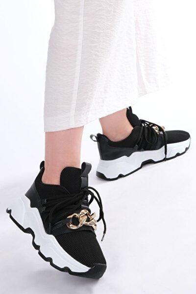 Kadın Siyah Sneaker Dolgu Topuk Spor Ayakkabı Osla