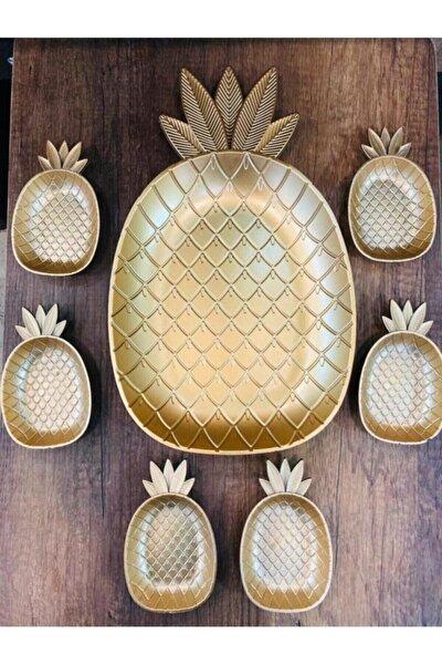 Gold Sarı Ananas Sunum Seti