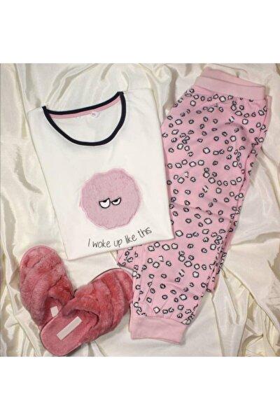Kadın  Pembe Tüylü Pijama Takımı