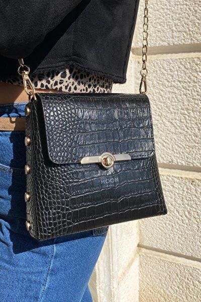 Kadın Siyah Kroko Desen Zımbalı Zincirli Omuz Çantası