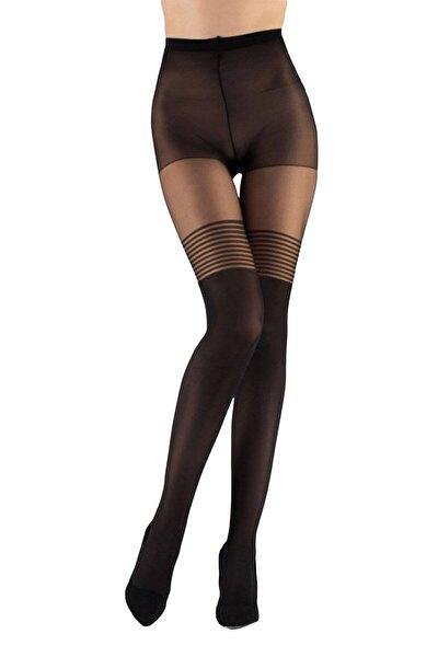 Kadın  Siyah  Düz Çizgi Desen  Külotlu Çorap