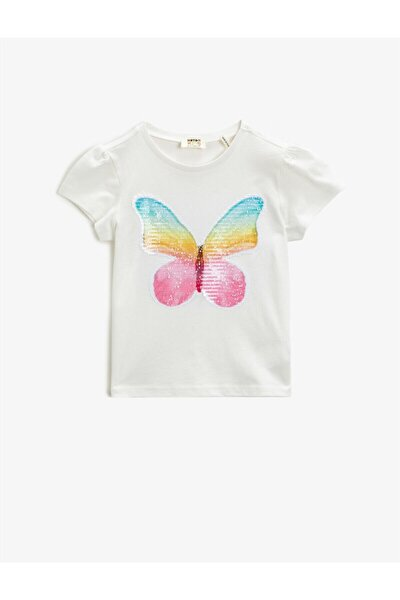 Kız Çocuk Ekru Kısa Kollu Pamuklu Bisiklet Yaka Baskılı T-Shirt