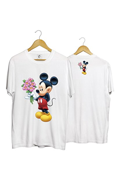Unisex Beyaz Flowers Minnie Pamuk Normal Kalıp Tişört