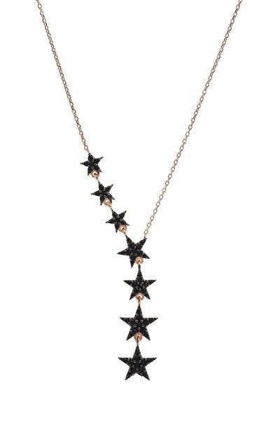 925 Ayar Gümüş Sıralı 7 Yıldızlı Siyah Zirkon Taşlı Gümüş Kolye